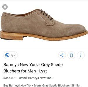 Barneys New York gray suede bluchers